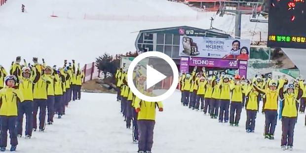 Zuid-Koreaanse skileraren nemen warming-up serieus
